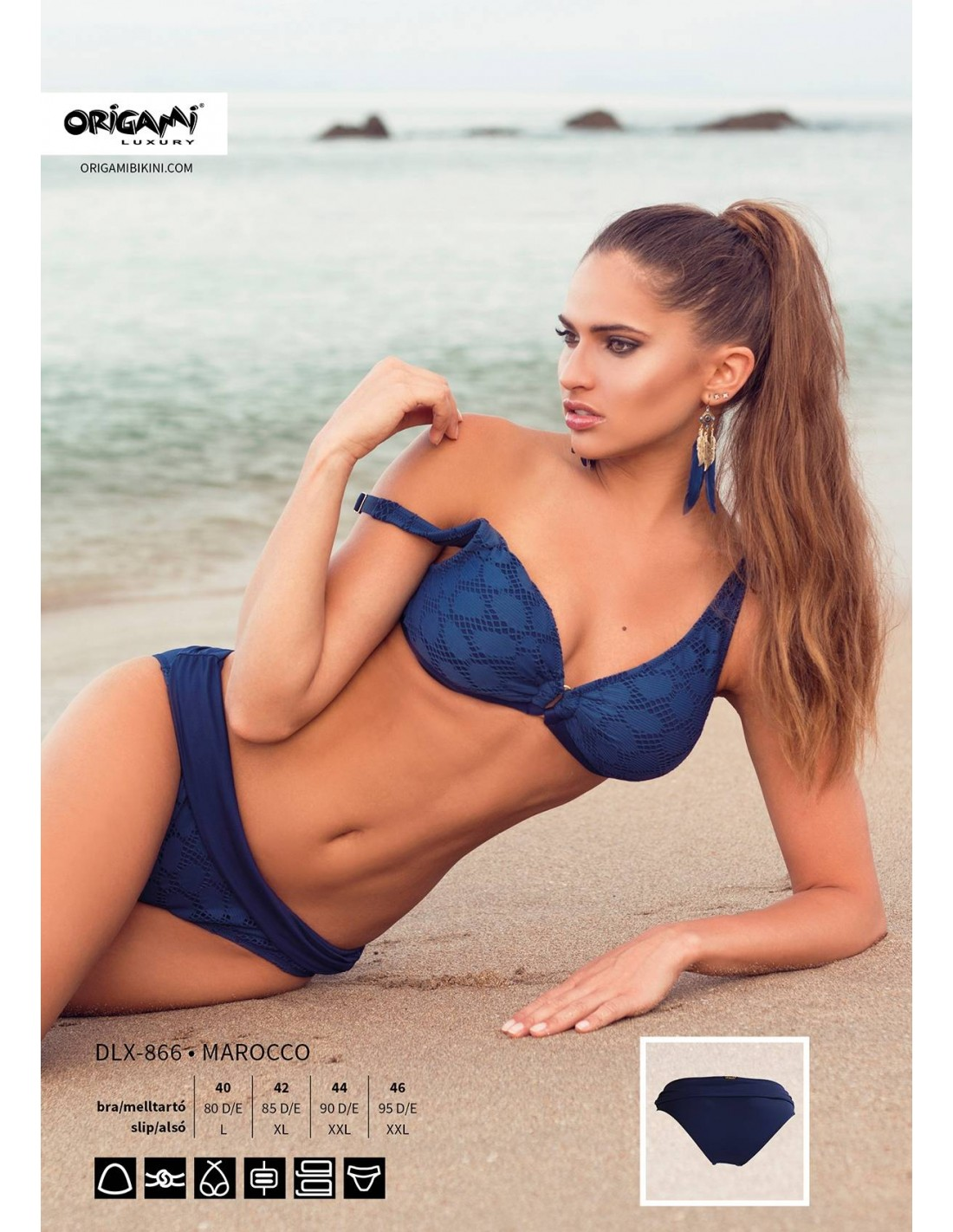D kosaras kivehető szivacsos háromszöges. Marocco DLX-866 Origami Bikini cb628569a4