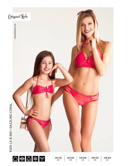 Dazzling Coral Kids-LX-B-880 Origami Bikini