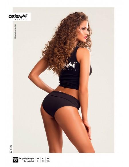 Black medium rise bottom X-889 Origami Bikini